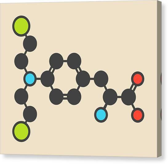 Mustard Canvas Print - Melphalan Cancer Drug Molecule by Molekuul