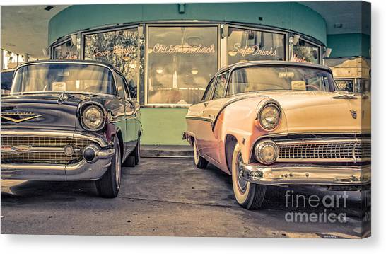 Diners Canvas Print - Mel's Drive-in by Edward Fielding