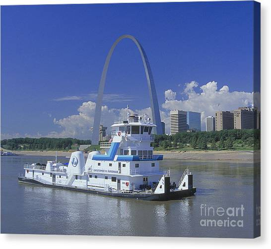 Mississippi River Canvas Print - Memco Towboat In St Louis by Garry McMichael
