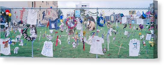 Chain Link Fence Canvas Print - Mementos On Chain Link Fence, Memorial by Panoramic Images