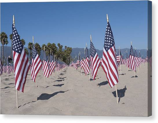 Ucsb Canvas Print - Memorial For 911 Santa Barbara Ca by David Litschel
