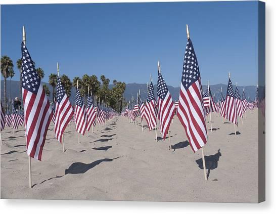 Ucsb Canvas Print - Memorial For 911 Santa Barbara Ca by David Litschel