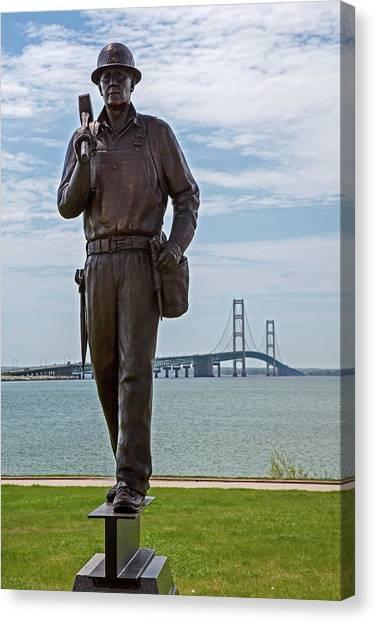 American Steel Canvas Print - Memorial To Bridge Workers by Jim West