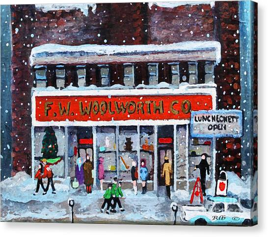 Salvation Army Canvas Print - Memories Of Winter At Woolworth's by Rita Brown