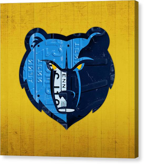 Memphis Grizzlies Canvas Print - Memphis Grizzlies Basketball Team Retro Logo Vintage Recycled Tennessee License Plate Art by Design Turnpike