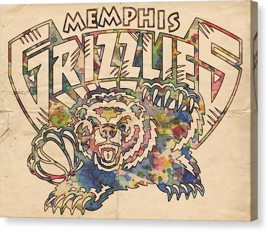 Memphis Grizzlies Canvas Print - Memphis Grizzlies Poster Vintage by Florian Rodarte