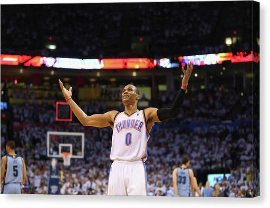Russell Westbrook Canvas Print - Memphis Grizzlies V Oklahoma City by Ronald Martinez