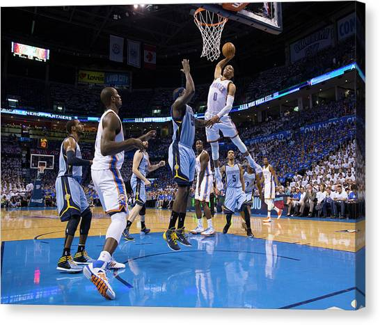 Russell Westbrook Canvas Print - Memphis Grizzlies Vs Oklahoma City by Richard Rowe