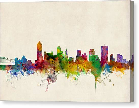 Tennessee Canvas Print - Memphis Tennessee Skyline by Michael Tompsett