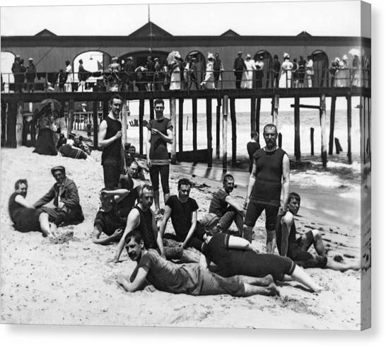1880s Canvas Print - Men Bathers By The Boardwalk by Underwood Archives