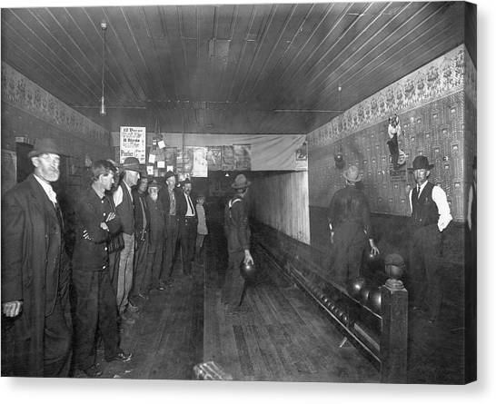 Bowling Alley Canvas Print - Men Bowling In 1890. by Underwood Archives