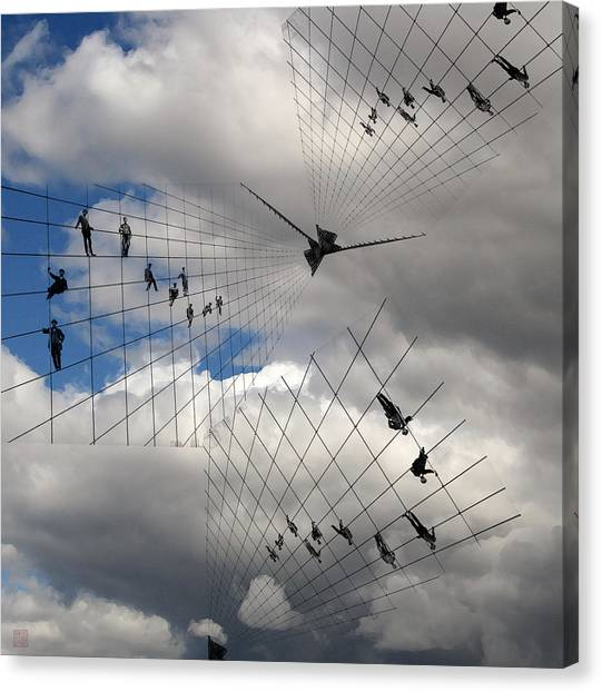 Men Hanging On Canvas Print by Roger Smith