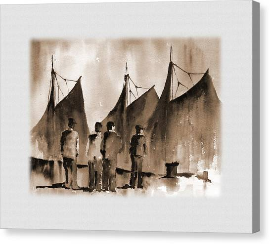 Galway Hooker Canvas Print - Men Lokking At Hookers Galway by Val Byrne