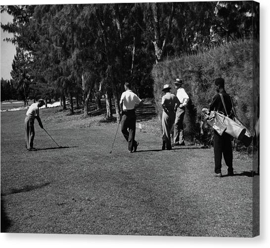 Men Playing Golf At The Jupiter Island Club Canvas Print by Serge Balkin