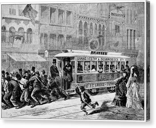 Outbreak Canvas Print - Men Pulling A Tram by Cci Archives