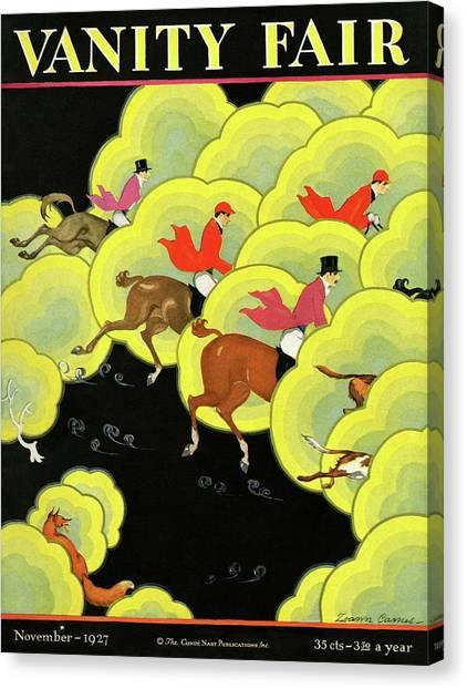Men Pursuing A Fox Canvas Print by Zoan Carnes