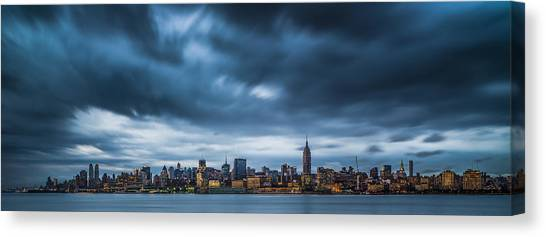Menacing Sky Over Manhattan Canvas Print by Chris Halford