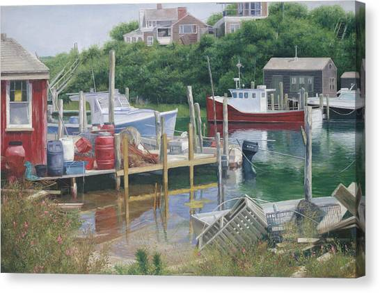 Marthas Vineyard Canvas Print - Menemsha Harbor Reds - Martha's Vineyard by Julia O'Malley-Keyes
