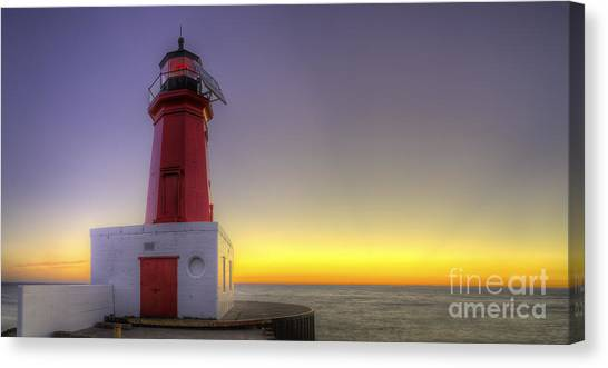 Menominee Lighthouse At Sunrise Canvas Print by Twenty Two North Photography