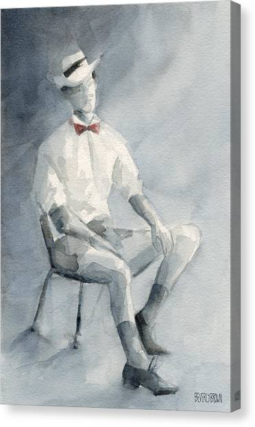 Fashion Art Canvas Print - Mens Fashion Illustration Art Print Hat And Bowtie by Beverly Brown Prints