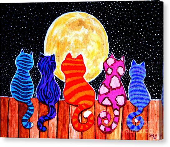 Colorful Canvas Print - Meowing At Midnight by Nick Gustafson