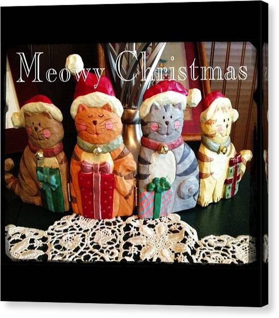 Holidays Canvas Print - Meowy Christmas! Santa Claws Is On His by Teresa Mucha