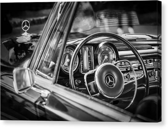 Canvas Print featuring the photograph Mercedes-benz 250 Se Steering Wheel Emblem by Jill Reger