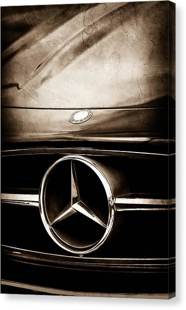 Canvas Print featuring the photograph Mercedes-benz Grille Emblem by Jill Reger