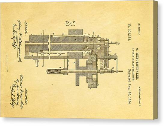 Printers Canvas Print - Mergenthaler Linotype Printing Patent Art 2 1884 by Ian Monk