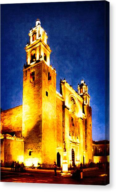 Merida Cathedral Glowing At Night Canvas Print by Mark Tisdale