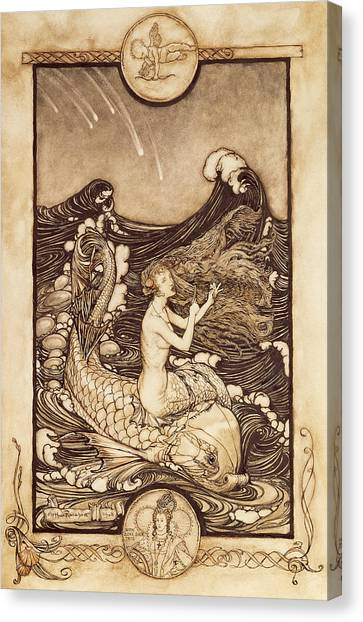 Queen Elizabeth Canvas Print - Mermaid And Dolphin From A Midsummer Nights Dream by Arthur Rackham
