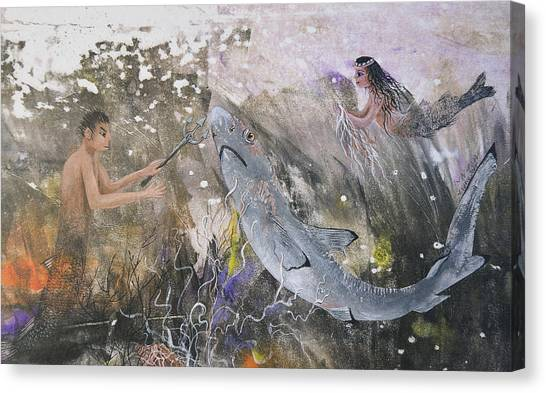 Mermaid And Neptune Canvas Print by Nancy Gorr