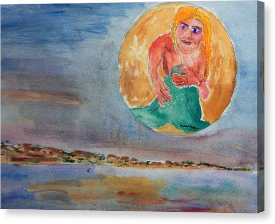 Mermaid In The Moon Canvas Print