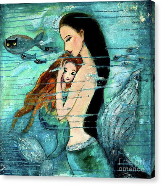 Mythological Creatures Canvas Print - Mermaid Mother And Child by Shijun Munns
