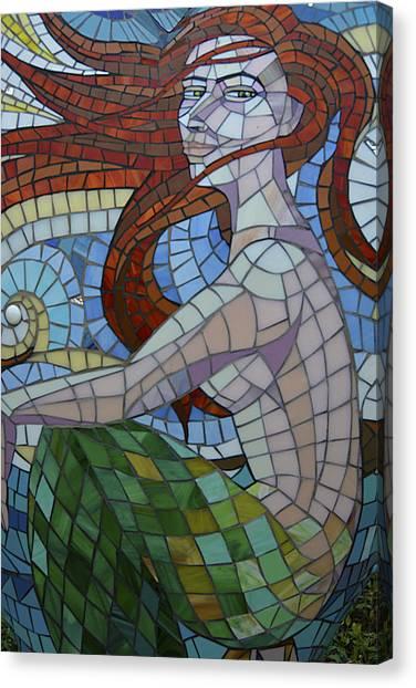Mermaid Multi-colored Glass Mosaic  Canvas Print