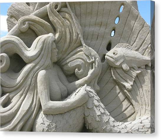 Mermaid Sand Sculpture Canvas Print