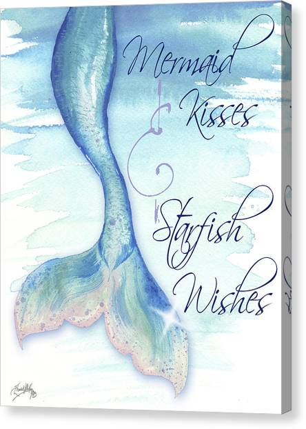 Mermaids Canvas Print - Mermaid Tail I (kisses And Wishes) by Elizabeth Medley