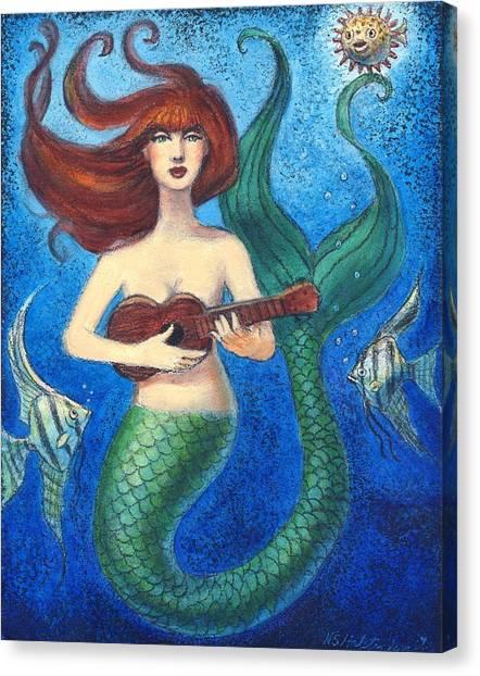 Mermaid Ukulele Angels Canvas Print