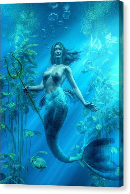 Mermaid Underwater Canvas Print