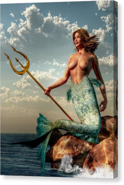 Mermaid With Golden Trident Canvas Print