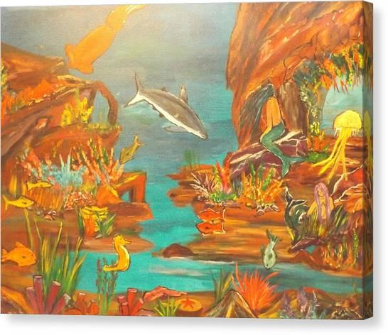 Underwater Caves Canvas Print - Mermaids by Erik Terrell