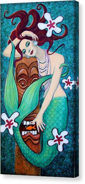 Tiki Canvas Print - Mermaid's Tiki God by Sue Halstenberg