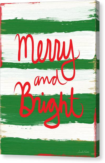Stripe Canvas Print - Merry And Bright- Greeting Card by Linda Woods