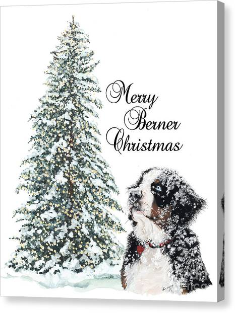 Bernese Mountain Dogs Canvas Print - Merry Berner Christmas by Liane Weyers