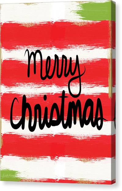 Calligraphy Canvas Print - Merry Christmas- Greeting Card by Linda Woods