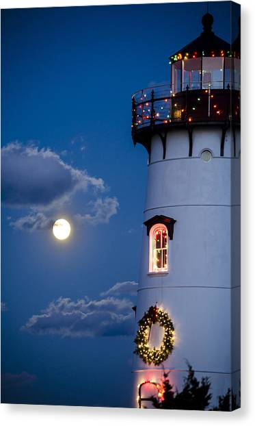 Merry Christmas Moon Canvas Print