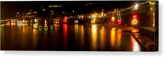 Merry Christmas Mousehole Lights Canvas Print