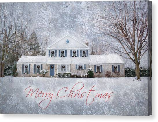 Wintry Holiday - Merry Christmas Canvas Print
