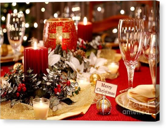 Merry Christmas Table Canvas Print