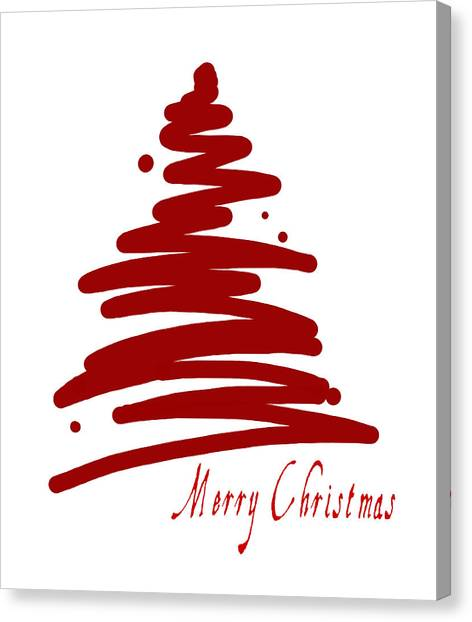 Merry Christmas Tree - Red Canvas Print